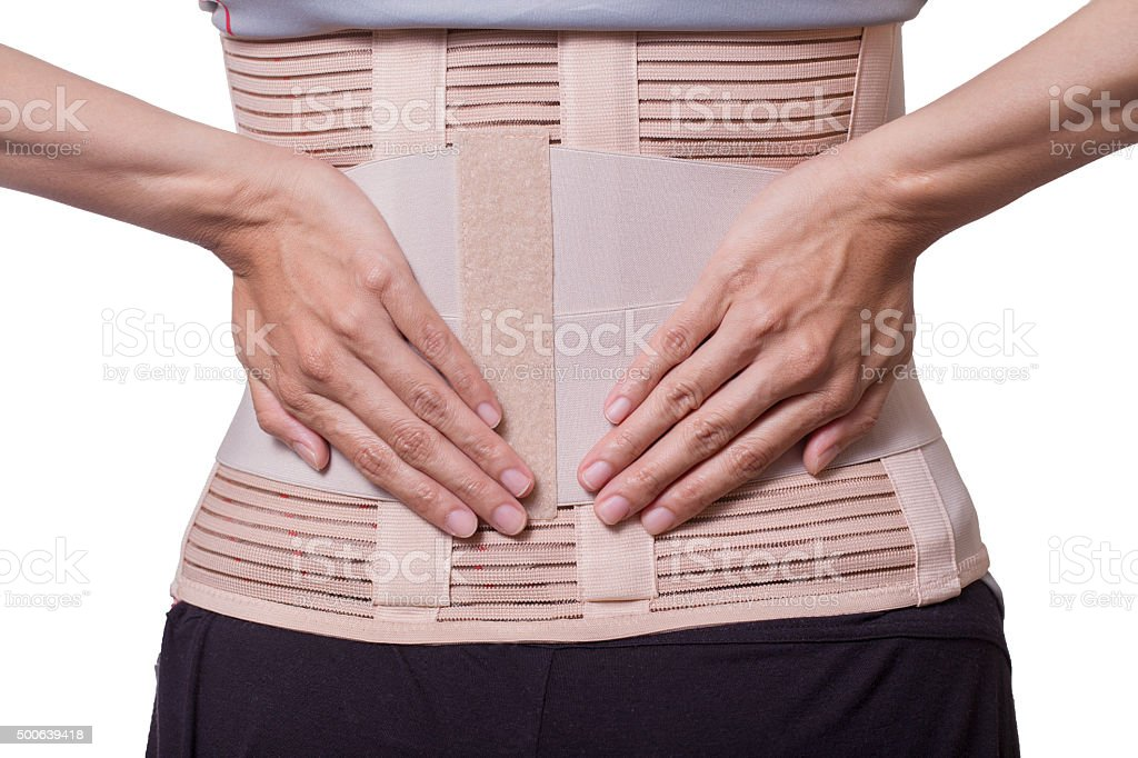 Back support for muscle back pain on white background stock photo