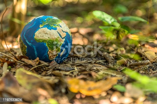 Planet Earth returns to Nature to regain its health. Conceptual image about the danger of not caring for our planet Earth. visual references from NASA (https://visibleearth.nasa.gov/images/74117/august-blue-marble-next-generation).