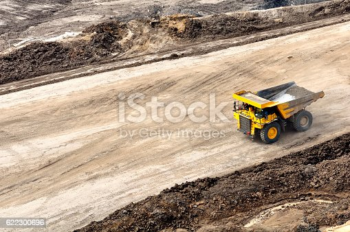 back to pit for loading overburden, hauling activity on open pit