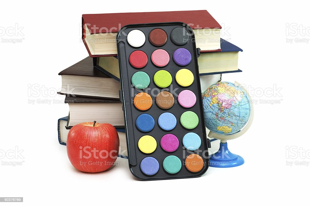 Back to scholl concept with books and school items royalty-free stock photo