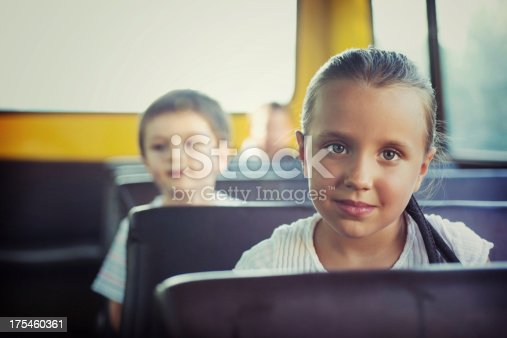 Back to School. 4-5 Years-old Children on Yellow Bus