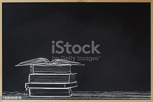 istock Back to school advertising sale concept : Black chalkboard frame with stacked and open books and copy space for text. Education background for display or wallpapers. Chalk board for education concept. 1006464816