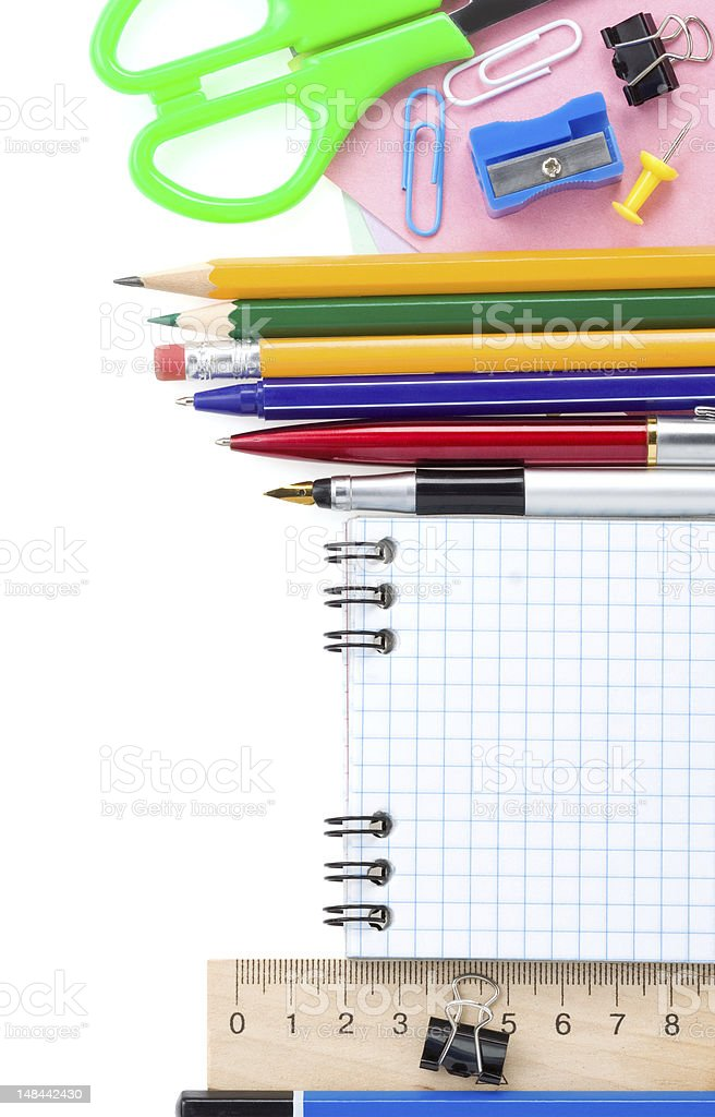back to school and accessories on white royalty-free stock photo
