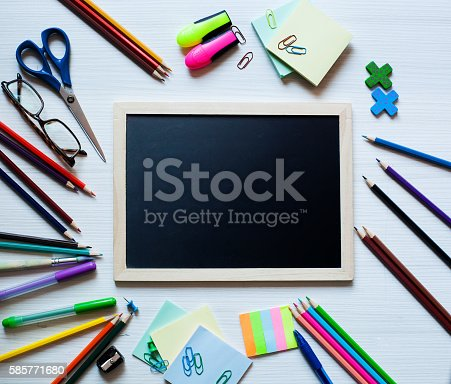1045293630istockphoto Back to school and office supplies background 585771680