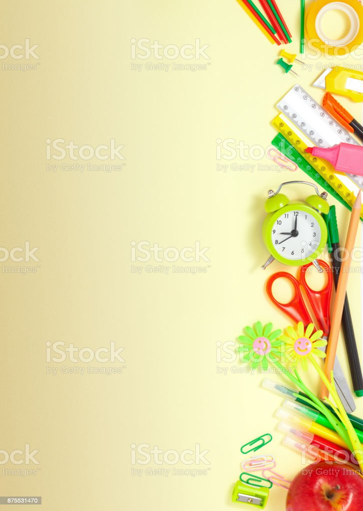 Back To School Background Border With Alarm Clock Stock ...