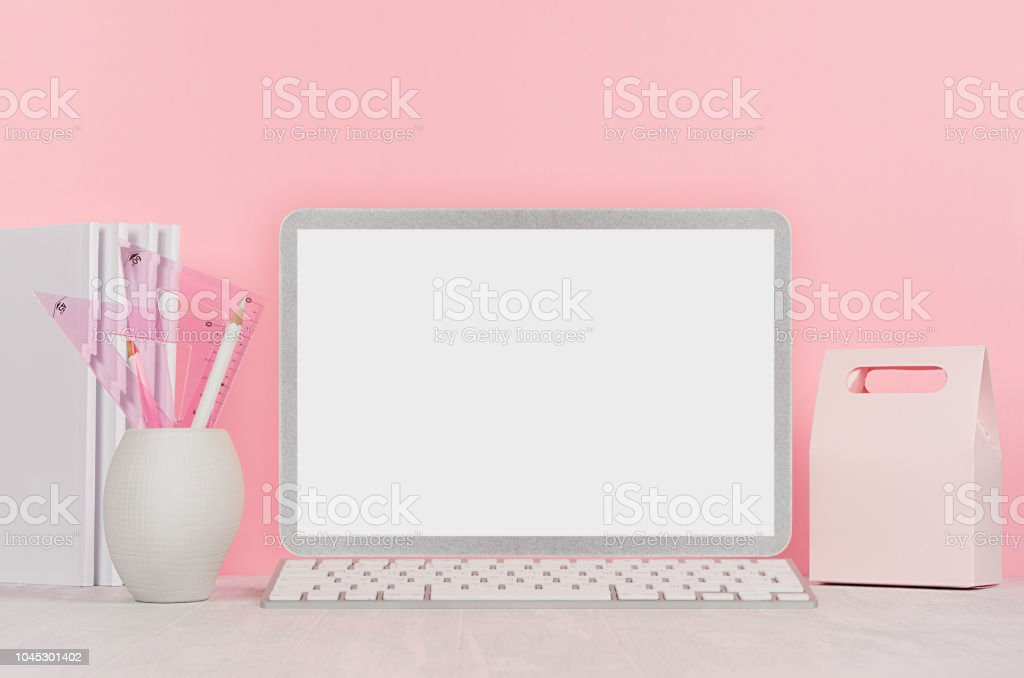 Back To School Background For Girls White Stationery Blank Laptop Computer And Lunch Box On Soft Pink Wall And White Wood Desk Stock Photo Download Image Now Istock
