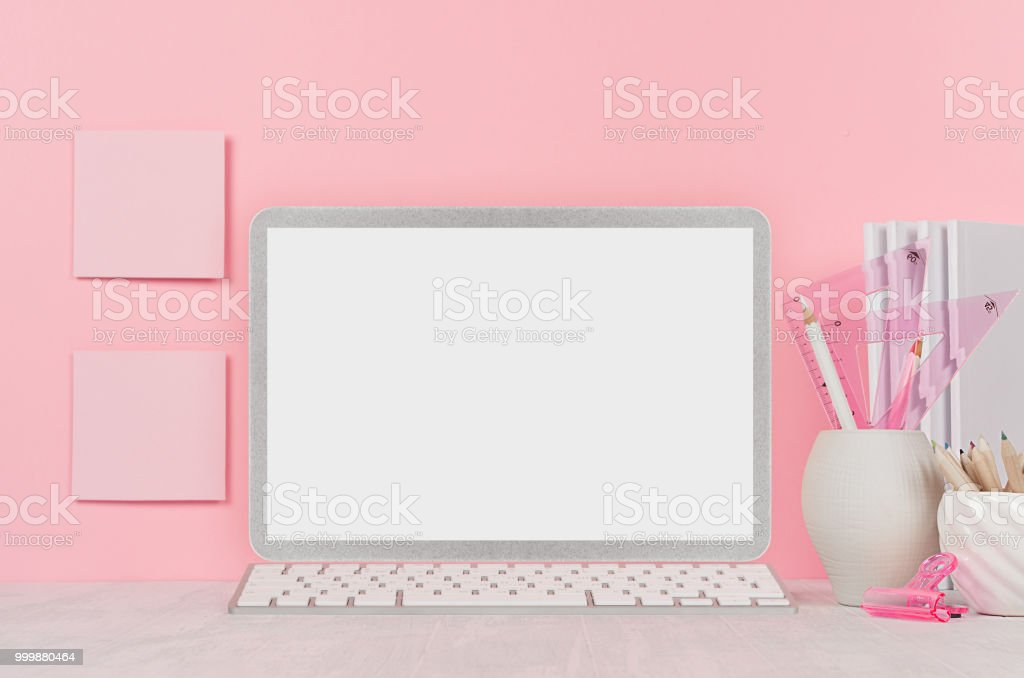 Back To School Background For Girls White Stationery Blank Laptop Computer And Stickers On Soft Pink Wall And White Wood Desk Stock Photo Download Image Now Istock