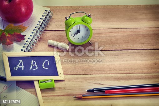 istock Back to School Background with Office Tools 874147574