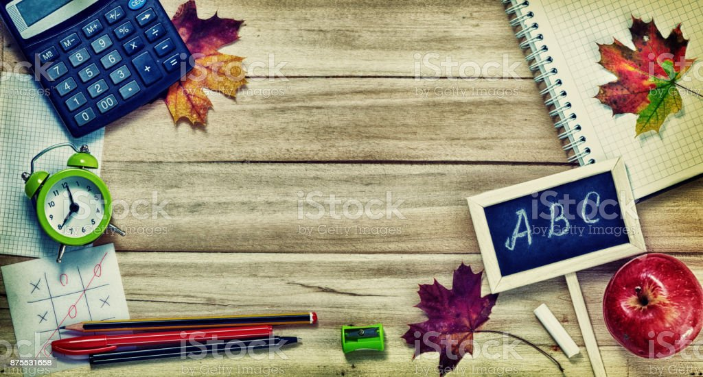 Back to School Background with Office Tools stock photo