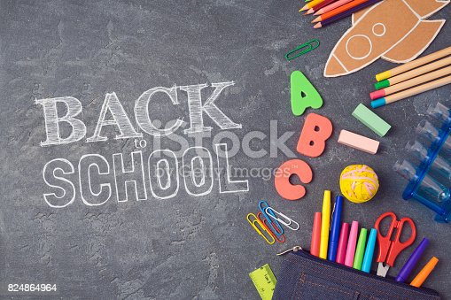 istock Back to school background with school supplies.View from above. Flat lay 824864964
