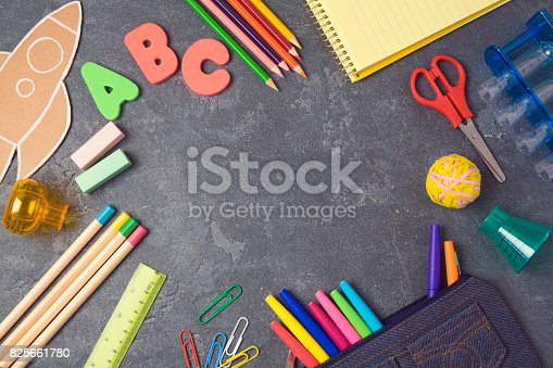 istock Back to school background with school supplies.View from above. Flat lay 825661780