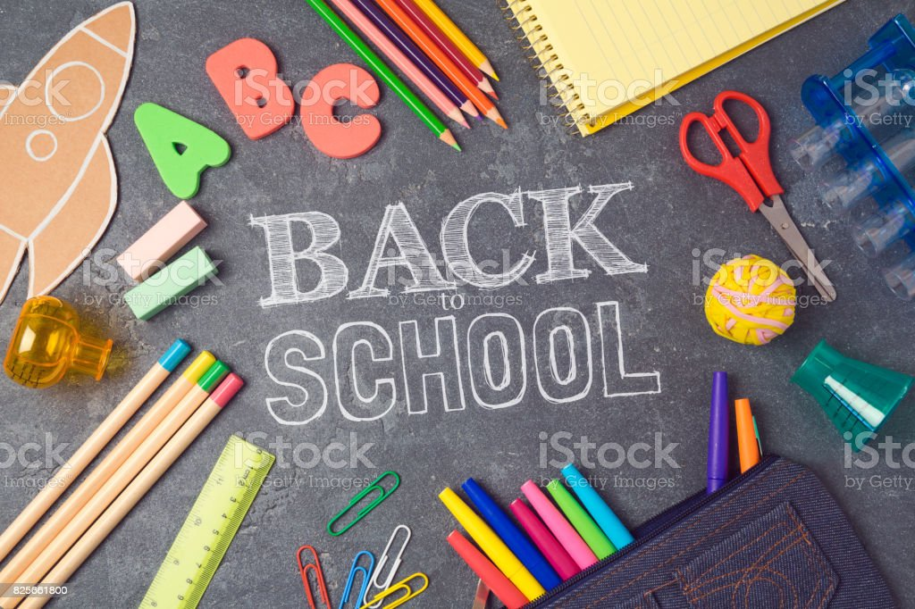 Back to school background with school supplies.View from above. Flat lay stock photo
