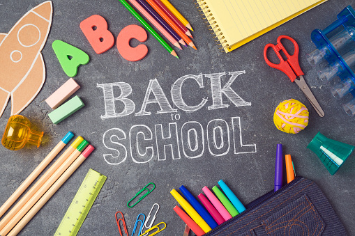 Back To School Background With School Suppliesview From Above Flat Lay Stock Photo - Download Image Now