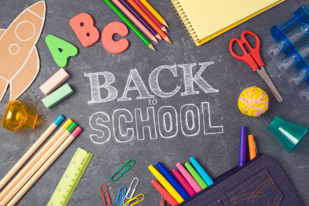 back to school background with school supplies.view from above. flat lay - back to school stock pictures, royalty-free photos & images