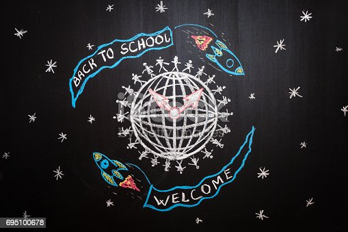 istock Back to school background with spaceships with flags with titles