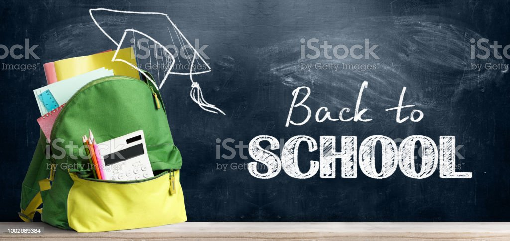 Back to school backpack. stock photo