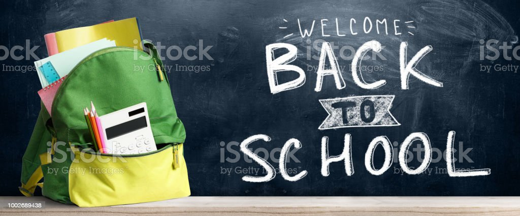 Back to school shopping backpack. Accessories in student bag against...