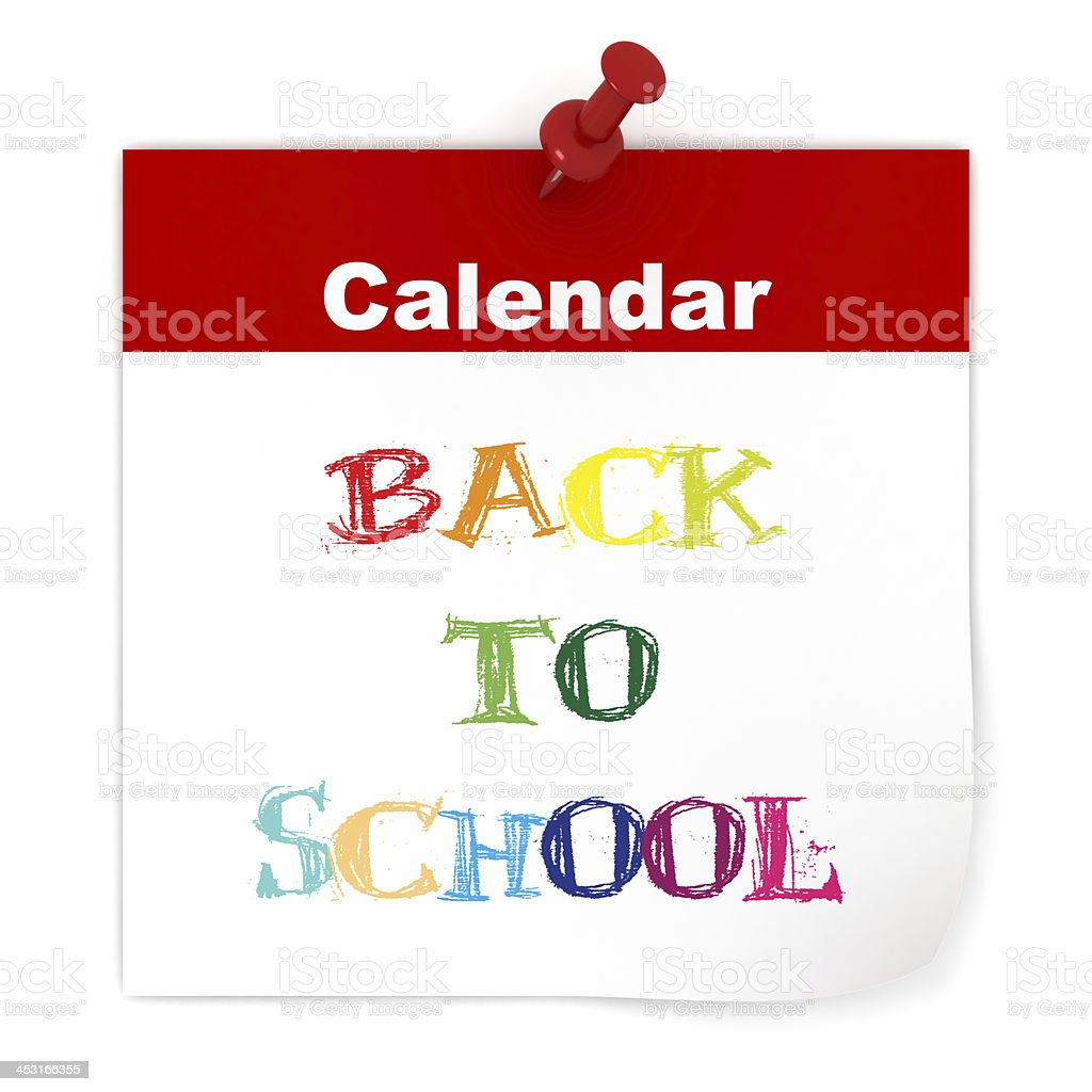 Back to School Calendar royalty-free stock photo