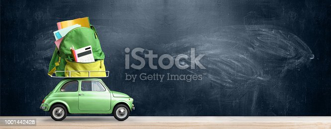 istock Back to school car. 1001442428