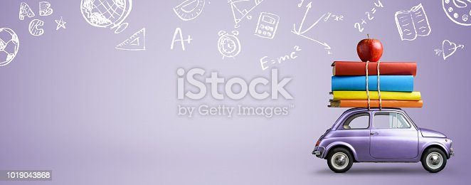 istock Back to school car. 1019043868