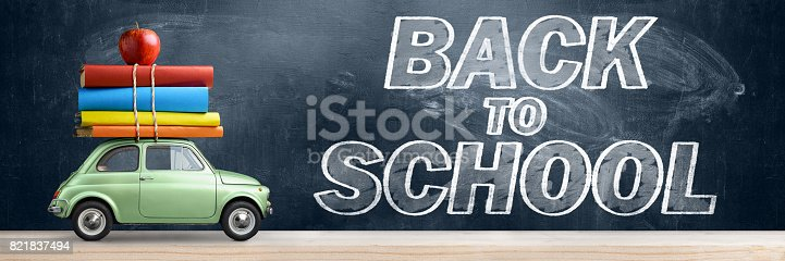 istock Back to school car. 821837494