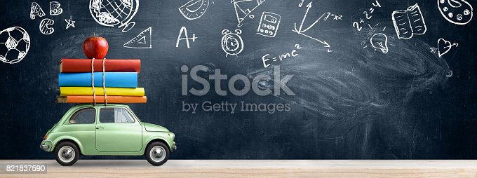istock Back to school car. 821837590