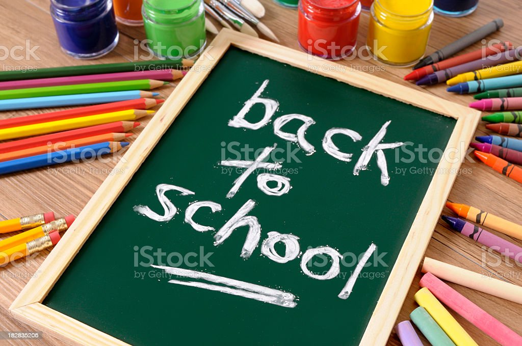 A back to school chalkboard surrounded by colored pencils royalty-free stock photo