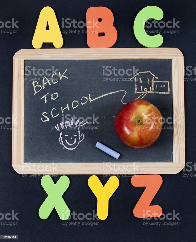Back to School chalkboard with alphabet royalty-free stock photo