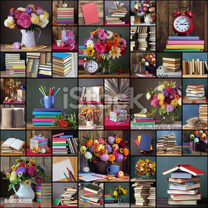 istock Back to school. Collage of photos with books and bouquets. 846936868