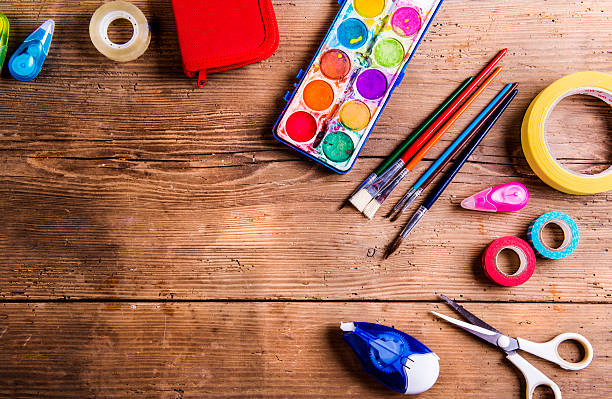 back to school composition - art and craft stock pictures, royalty-free photos & images