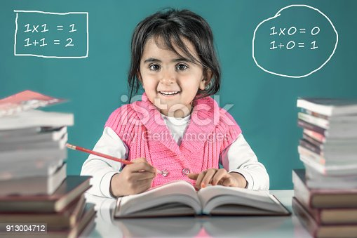 istock Back To School Concept, Happy Smiling Child Studying 913004712