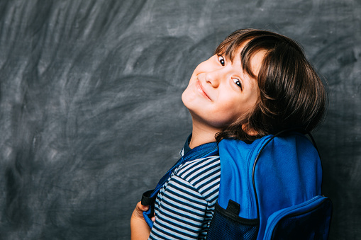 istock Back To School Concept, Happy Smiling Schoolboy Studying 1162558133