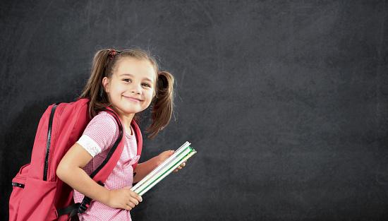istock Back To School Concept, Happy Smiling Schoolgirl Studying 831311858