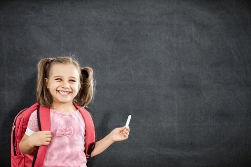 istock Back To School Concept, Happy Smiling Schoolgirl Studying 831571270