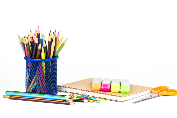 back to school concept isolated on white background - school supplies stock pictures, royalty-free photos & images