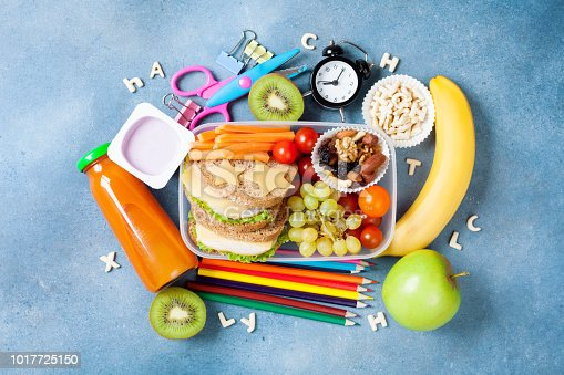 istock Back to school concept. Nutritional lunch box and colorful stationery top view. 1017725150