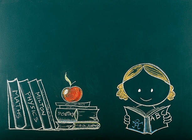Back to School Concept on Blackboard.Copy Space. Schoolgirl reading a book sketched on blackboard. cartoon and kids stock pictures, royalty-free photos & images