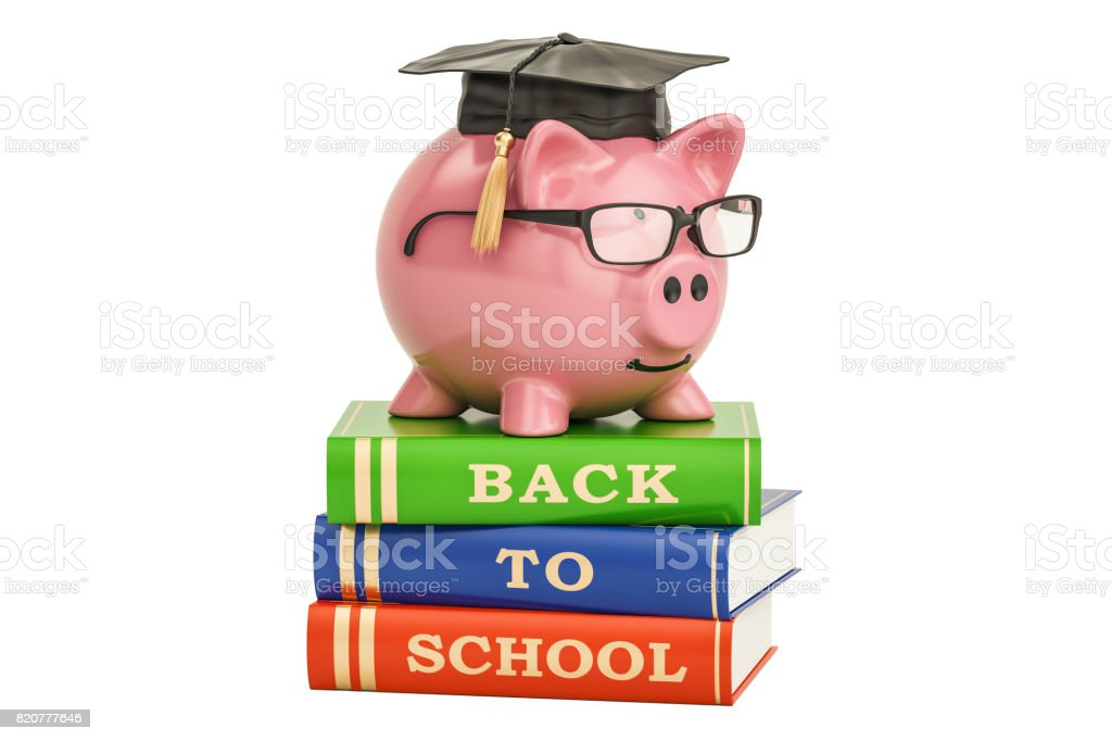 Back to school concept. Piggy bank on books, 3D rendering stock photo