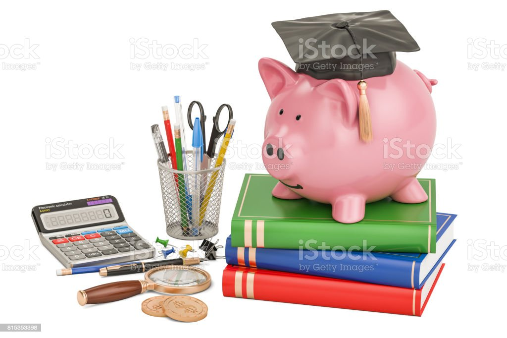 Back to school concept. Piggy bank with stationery, 3D rendering stock photo