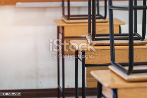 1047047834 istock photo Back to school concept. School empty classroom, Lecture room with desks and chairs iron wood for studying lessons in highschool thailand without young student, interior of secondary education 1132372707