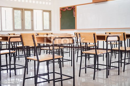 1047047834 istock photo Back to school concept. School empty classroom, Lecture room with desks and chairs iron wood for studying lessons in highschool thailand without young student, interior of secondary education 1153649273