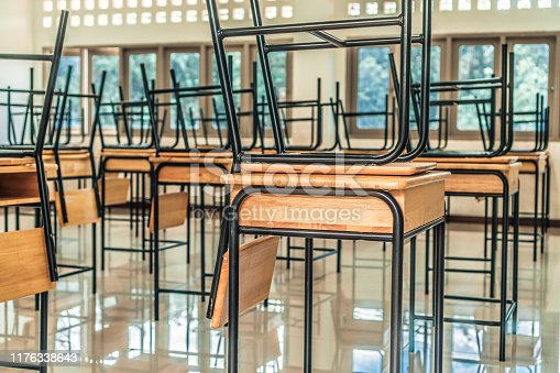 1047047834 istock photo Back to school concept. School empty classroom, Lecture room with desks and chairs iron wood for studying lessons in highschool thailand without young student, interior of secondary education 1176338643