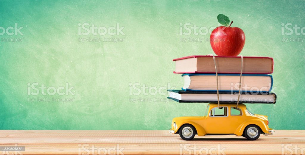 Back To School Concept - School Supplies Delivery stock photo