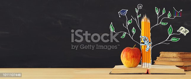 1045293630istockphoto Back to school concept. tree of knowledge sketch and pencils over open book in front of classroom blackboard. 1011107446