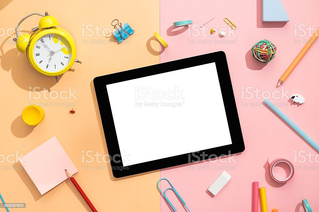 Back to school concept with copy space. Creative office desk. stock photo
