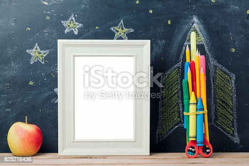 istock Back to school concept with rocket 825216436
