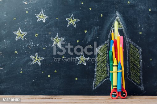 istock Back to school concept with rocket 825216452