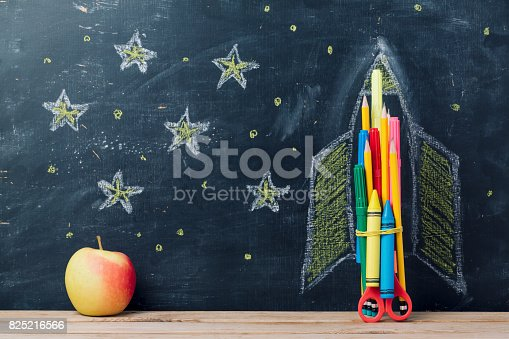 istock Back to school concept with rocket 825216566