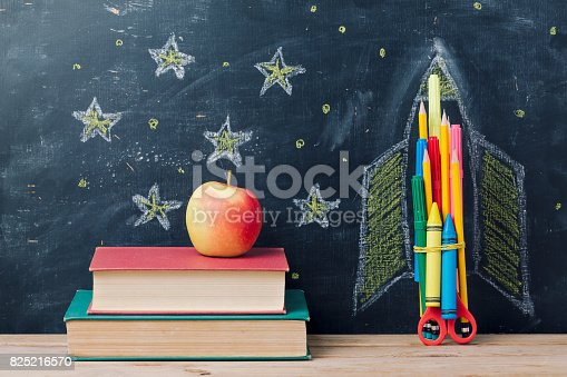 istock Back to school concept with rocket 825216570