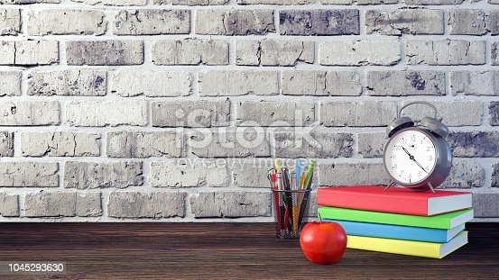 1045293630istockphoto Back to School Concept with Stationery Supplies 3d render 1045293630
